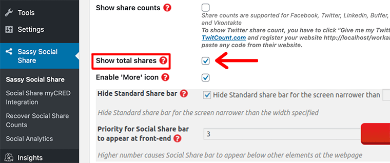 Enable Share Counts in Sassy Social Share