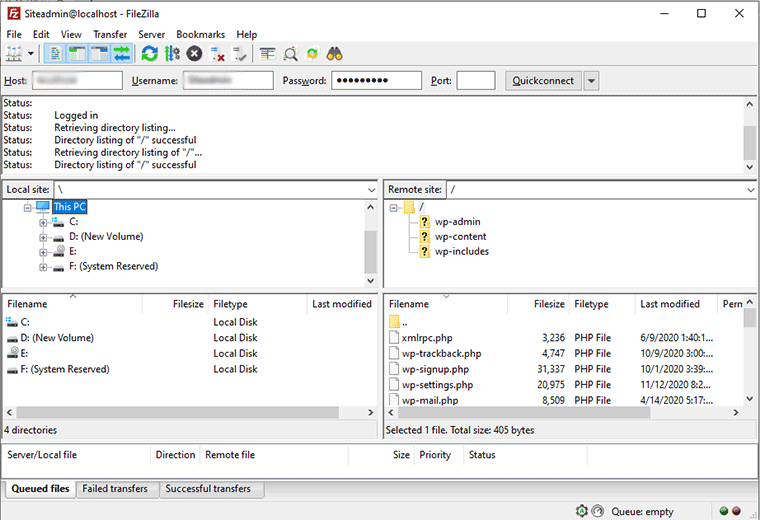 Local Directory and WordPress Server Connected in FileZilla