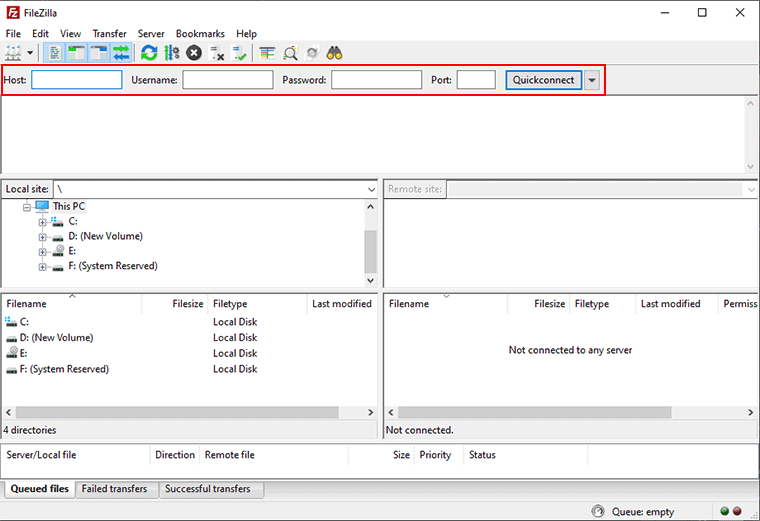 FileZilla Connection Credentials For WordPress Server Connection