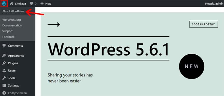 WordPress Version From About WordPress Menu