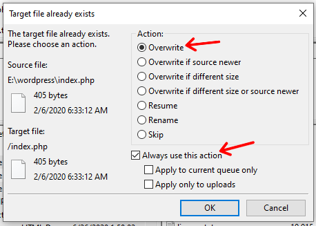 Overwrite Existing Files
