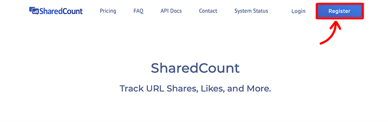 Register at Shared Count