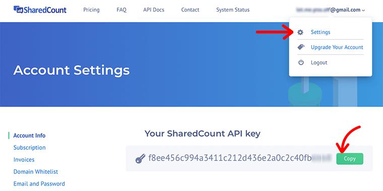 Share Count API Key