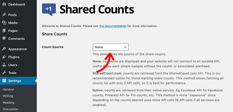 Share Counts Menu