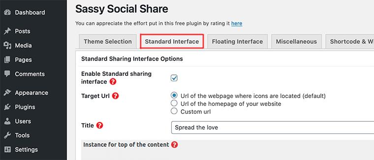Standard Interface in Sassy Social Share