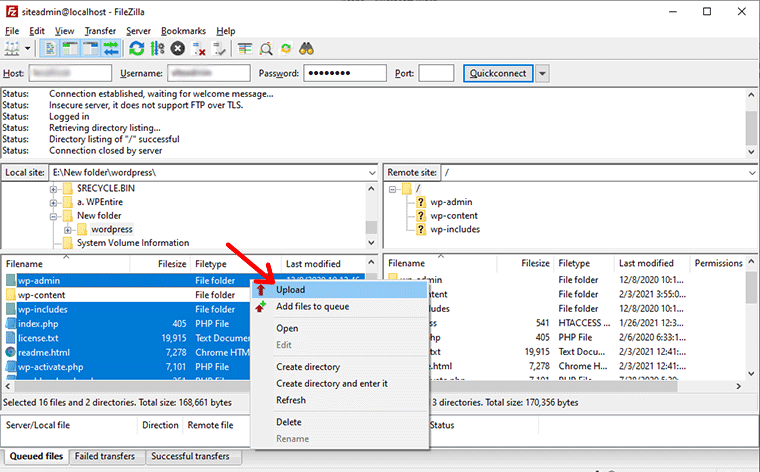 Select and Upload Files and Folders Except wp-content Folder