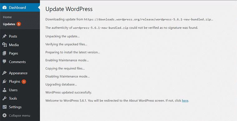 WordPress Update Progress