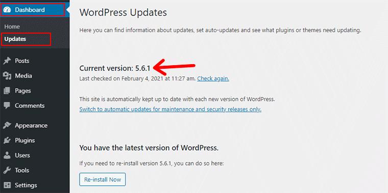WordPress Version From Updates Menu