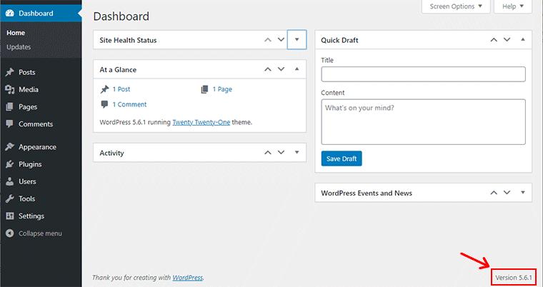 WordPress Version in Footer