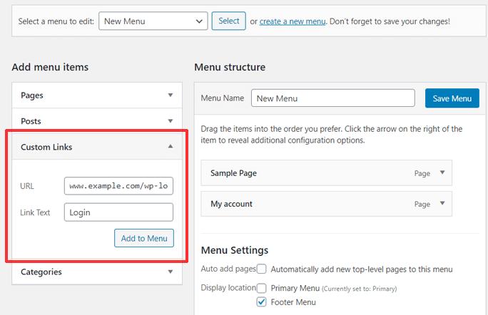 Adding Login URL to Menu as a Custom Link