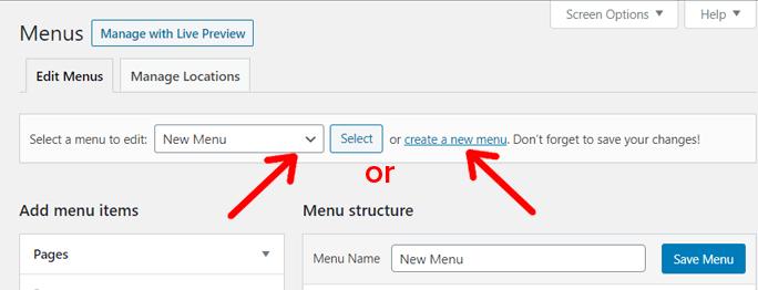 Select Menu or Create a New Menu