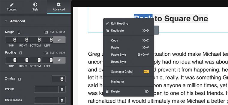 Tool Shortcut in Elementor