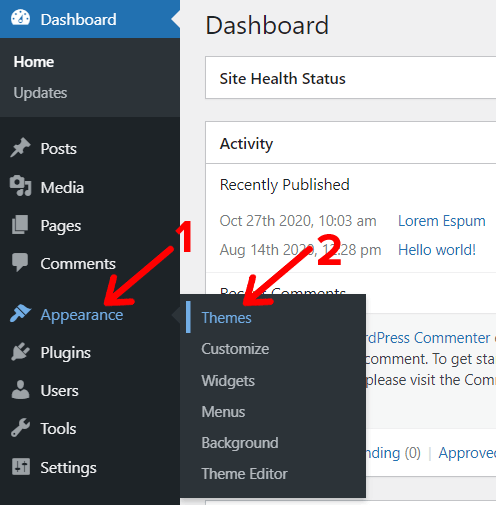 Appearance Themes Option in WordPress Dashboard