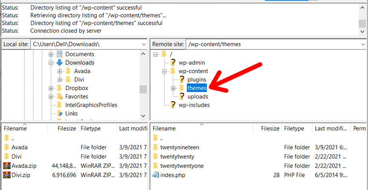 Open Themes Folder on Remote Site
