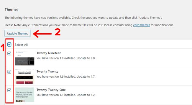 Updating WordPress Themes