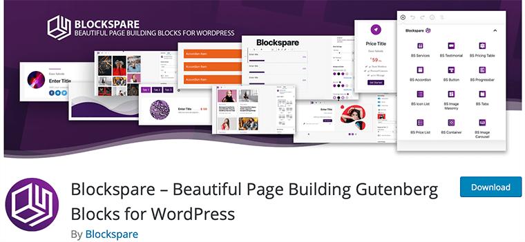 Blockspare WordPress Gutenberg blocks plugin
