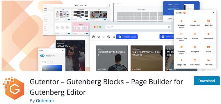 Gutentor WordPress Gutenberg blocks plugin