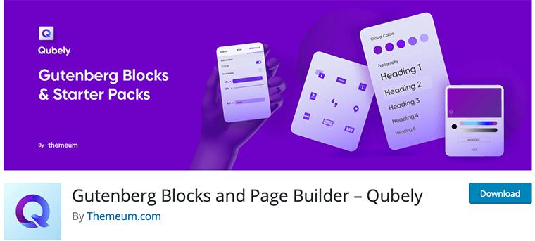 Qubely WordPress Gutenberg block plugin