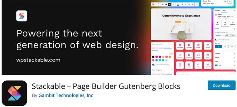 Stackable WordPress Gutenberg blocks plugin