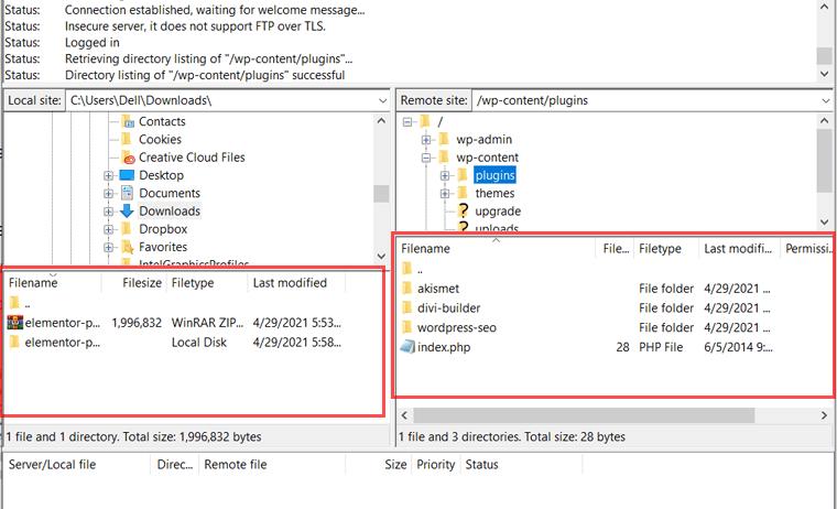 Files on Local  Site & Remote Site