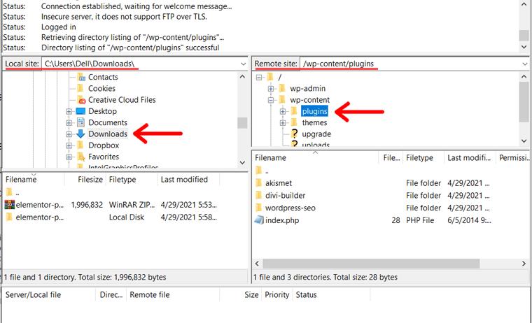 Locate Plugin File on Local Device and Plugin Directory on Remote Site