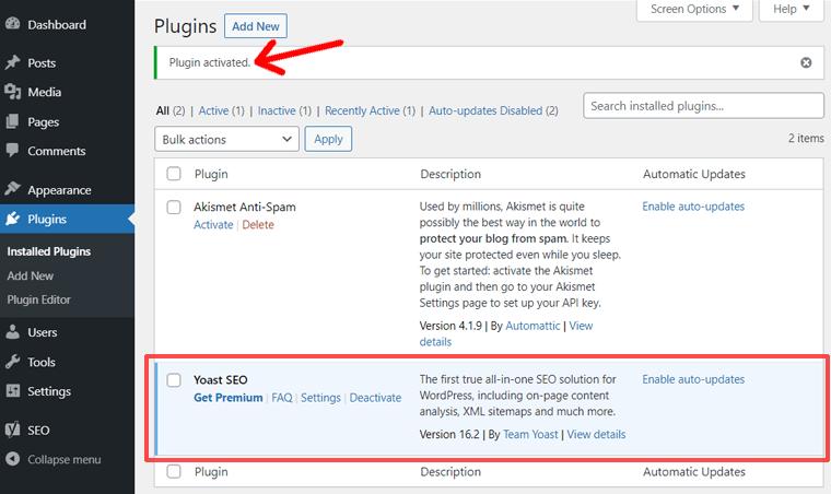 Plugin Activated Notification in WordPress