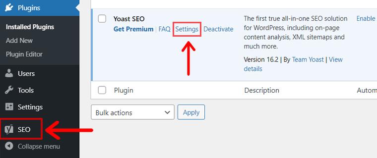 Plugin Settings (Example Yoast SEO plugin)