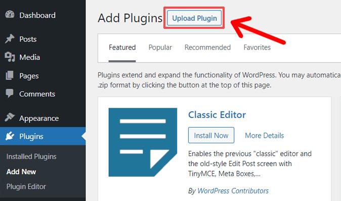 Upload Plugin Option in WordPress