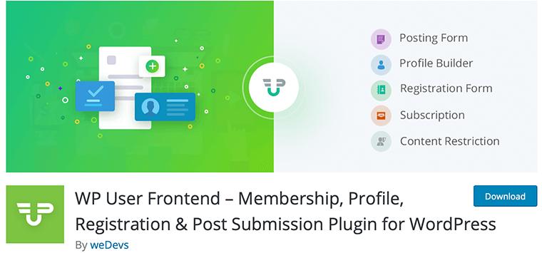 WP User Frontend - Free WordPress Membership Plugin