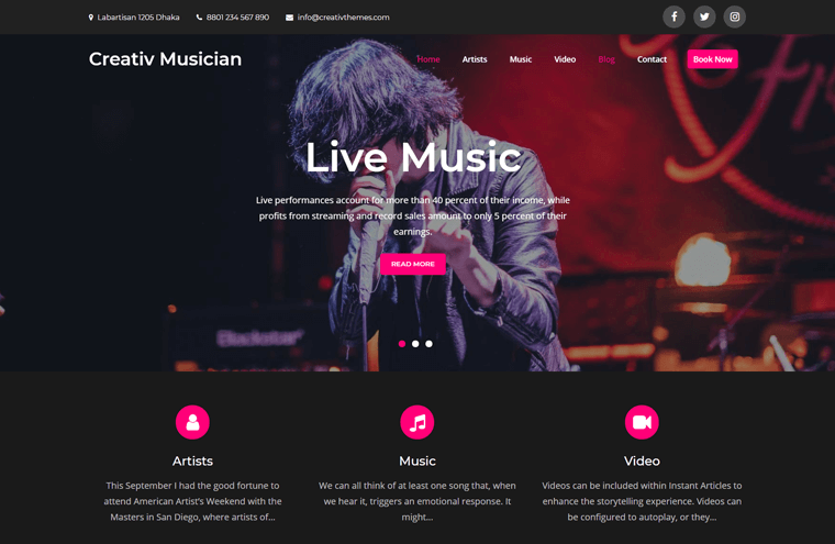 Creativ Musician Theme for WordPress