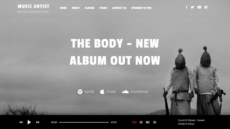 Music Artist WordPress Theme Free