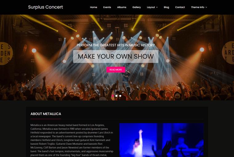 Surplus Concert WordPress Theme Free