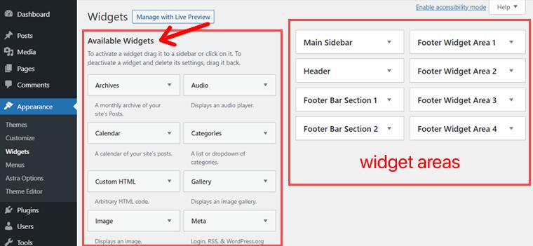 WordPress Widgets & Widget Areas