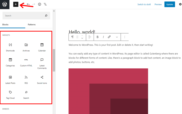 Widgets in WordPress Block Editor