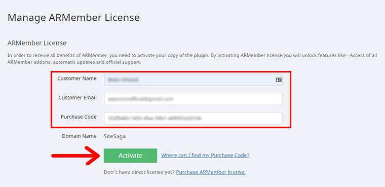 ARMember License Registration