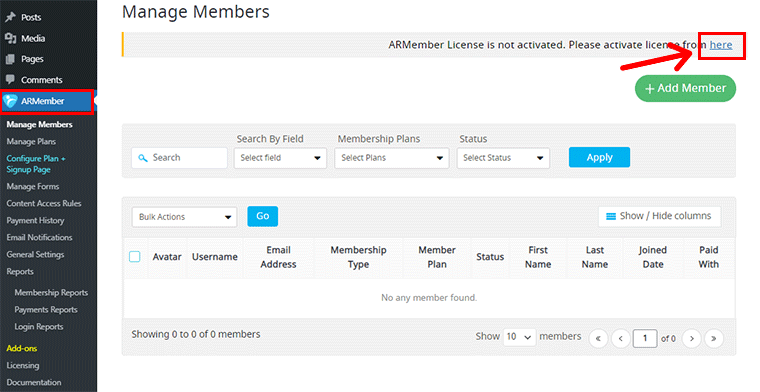 Activate ARMember with License Key
