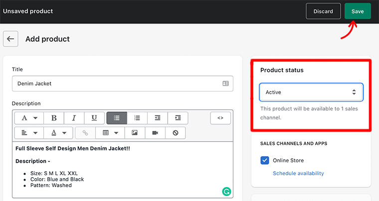 Active Product Status