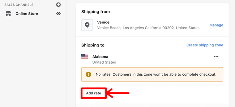 Add Rate Button