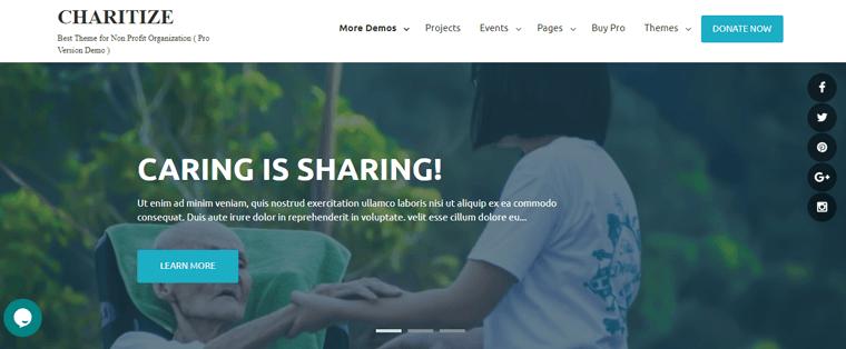 Charitize Free WordPress Theme