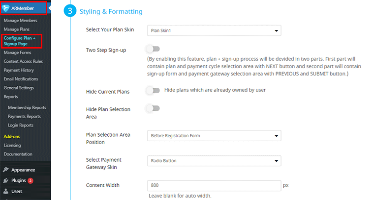 ARMember Signup page Styling and Formatting