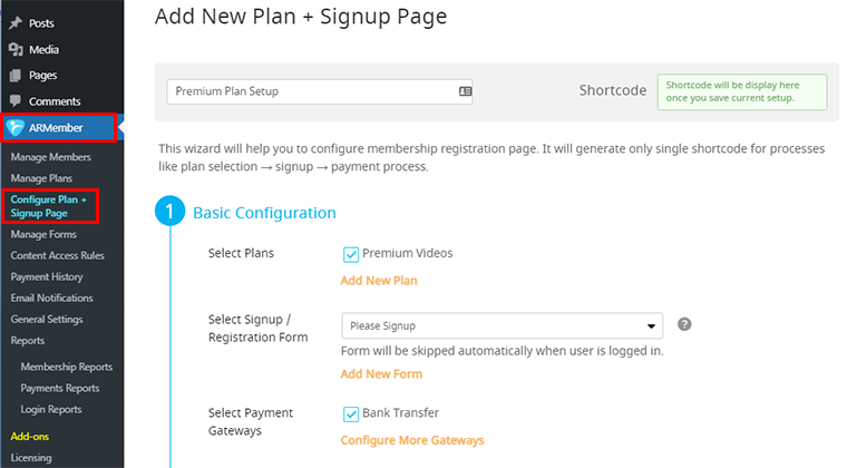 Configure ARMember Signup Page