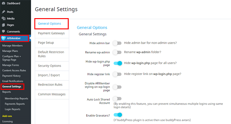 General Options in ARMember WordPress Membership Plugin