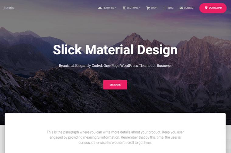 Hestia Pro Parallax One Page WordPress Theme