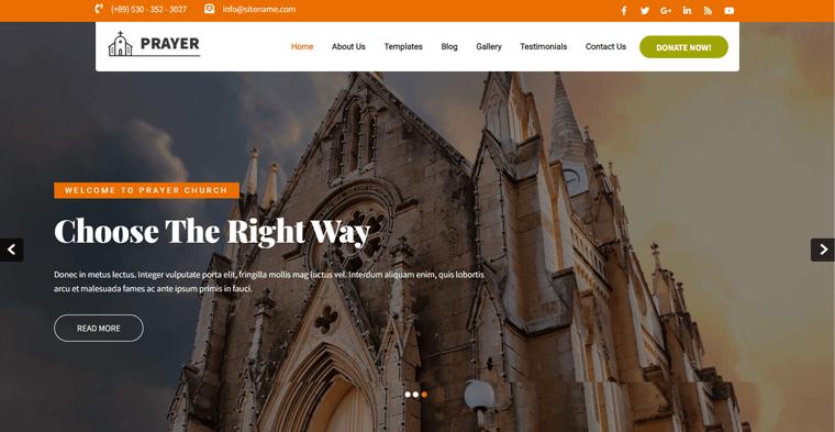 Prayer Lite Free Church WordPress Theme