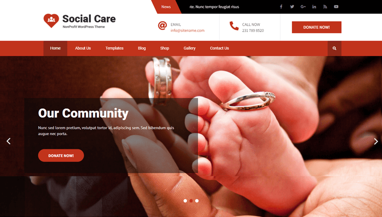 Social Care Lite Free WordPress Theme