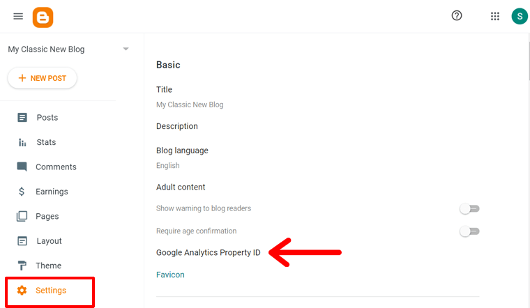 Blogger Setting Page to Add G Analytics