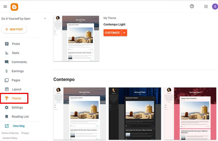 Theme Option on Blogger