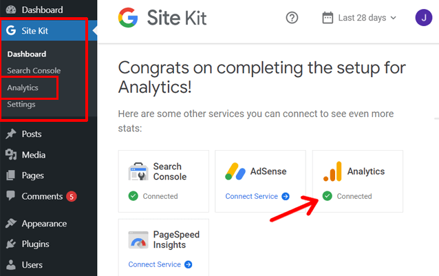 G Analytics Setup Complete with Site Kit