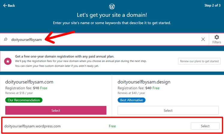 Get Domain for Your WordPress.com Blog