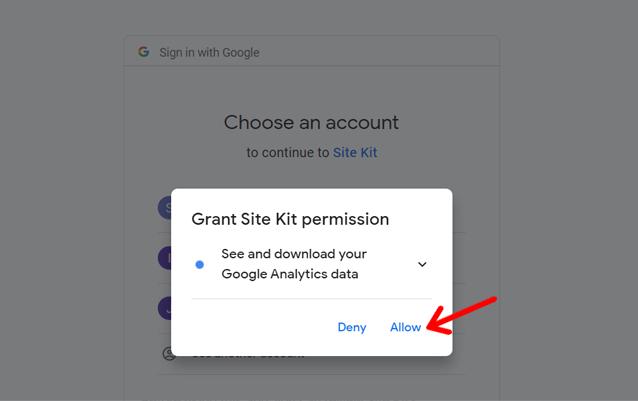 Grant  Site Kit Permission to See Google Analytics Data